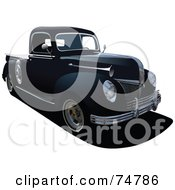 Royalty Free RF Clipart Illustration Of A Black Vintage Pickup Truck
