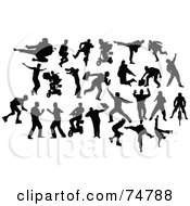 Royalty Free RF Clipart Illustration Of A Digital Collage Of Silhouetted Men In Action by leonid