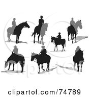 Royalty Free RF Clipart Illustration Of A Digital Collage Of Horse Riders With Shadows by leonid