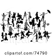 Royalty Free RF Clipart Illustration Of A Digital Collage Of Silhouetted Women In Action Poses