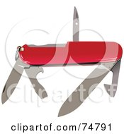 Royalty Free RF Clipart Illustration Of A Red Swiss Army Knife With Silver Tools