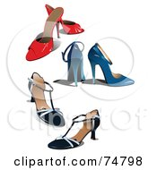 Royalty Free RF Clipart Illustration Of A Digital Collage Of Three Pairs Of High Heeled Shoes