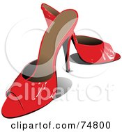 Royalty Free RF Clipart Illustration Of A Pair Of Red High Heeled Shoes With Open Toes