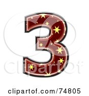 Royalty Free RF Clipart Illustration Of A Starry Symbol Number 3 by chrisroll