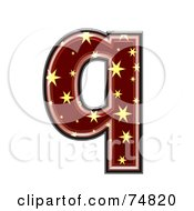 Royalty Free RF Clipart Illustration Of A Starry Symbol Lowercase Letter Q by chrisroll