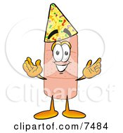 Clipart Picture Of A Bandaid Bandage Mascot Cartoon Character Wearing A Birthday Party Hat by Toons4Biz