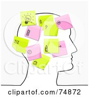 Royalty Free RF Clipart Illustration Of A Sketched Head With Pink And Yellow Sticky Note Thoughts by NL shop
