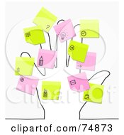 Royalty Free RF Clipart Illustration Of A Sketched Hand With Pink And Yellow Sticky Note Reminders by NL shop