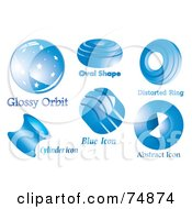 Royalty Free RF Clipart Illustration Of A Digital Collage Of Six Round Blue Logo Icons by MilsiArt