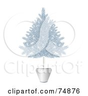 Royalty Free RF Clipart Illustration Of A Blue And Silver Potted Christmas Tree