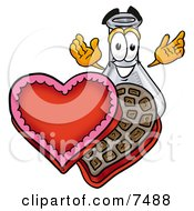 Clipart Picture Of An Erlenmeyer Conical Laboratory Flask Beaker Mascot Cartoon Character With An Open Box Of Valentines Day Chocolate Candies