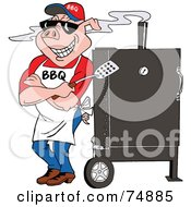 Royalty Free RF Clipart Illustration Of A Bbq Pig Standing Against A Smoker by LaffToon