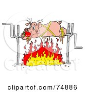 Royalty Free RF Clipart Illustration Of A Sweaty Pig Spinning Over A Fire