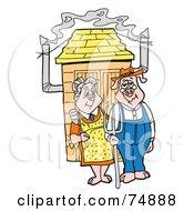 Farmer Pig Couple Standing Outside A Smoker