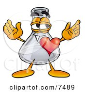 An Erlenmeyer Conical Laboratory Flask Beaker Mascot Cartoon Character With His Heart Beating Out Of His Chest