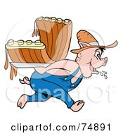 Royalty Free RF Clipart Illustration Of A Farmer Pig Carrying Bbq Ribs