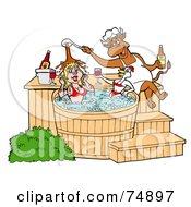 Royalty Free RF Clipart Illustration Of A Chef Bull Pouring Bbq Sauce On A Female Pig And Chicken In A Hot Tub by LaffToon
