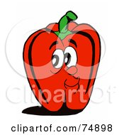 Royalty Free RF Clipart Illustration Of A Red Bell Pepper Face