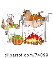 Royalty Free RF Clipart Illustration Of A Man Holding A Bottle Of Bbq Sauce And Cooking A Cow And Pig Over A Fire by LaffToon