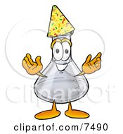 An Erlenmeyer Conical Laboratory Flask Beaker Mascot Cartoon Character Wearing A Birthday Party Hat by Toons4Biz