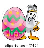 An Erlenmeyer Conical Laboratory Flask Beaker Mascot Cartoon Character Standing Beside An Easter Egg by Toons4Biz