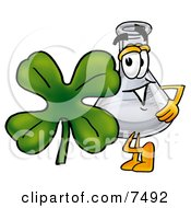 An Erlenmeyer Conical Laboratory Flask Beaker Mascot Cartoon Character With A Green Four Leaf Clover On St Paddys Or St Patricks Day
