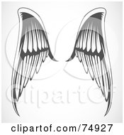 Royalty Free RF Clipart Illustration Of A Pair Of Gray And White Elegant Angel Wings by BestVector
