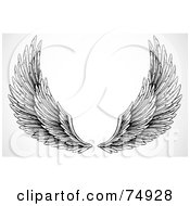 Royalty Free RF Clipart Illustration Of A Pair Of Black And White Feathery Open Wings by BestVector