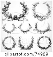 Royalty Free RF Clipart Illustration Of A Digital Collage Of 8 Black And White Laurel Wreaths