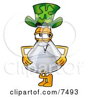 An Erlenmeyer Conical Laboratory Flask Beaker Mascot Cartoon Character Wearing A Saint Patricks Day Hat With A Clover On It