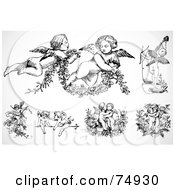 Royalty Free RF Clipart Illustration Of A Digital Collage Of Black And White Baby Angels Or Cupids by BestVector