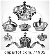 Royalty Free RF Clipart Illustration Of A Digital Collage Of Seven Ornate Black And White Crowns by BestVector