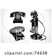 Royalty Free RF Clipart Illustration Of A Digital Collage Of Three Retro Black And White Phones by BestVector
