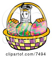 Clipart Picture Of An Erlenmeyer Conical Laboratory Flask Beaker Mascot Cartoon Character In An Easter Basket Full Of Decorated Easter Eggs