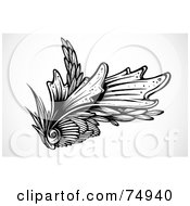 Royalty Free RF Clipart Illustration Of A Vintage Black And White Floral Seashell Design Element
