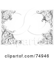 Royalty Free RF Clipart Illustration Of A White Background With Ornate Floral Swirl Corners by BestVector