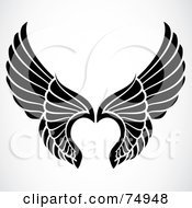 Royalty Free RF Clipart Illustration Of A Pair Of Black And White Elegant Angel Wings by BestVector