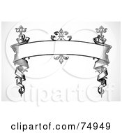 Royalty Free RF Clipart Illustration Of A Black And White Ornate Banner Winding Down Posts by BestVector