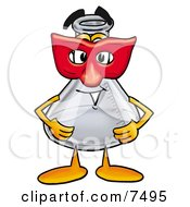 An Erlenmeyer Conical Laboratory Flask Beaker Mascot Cartoon Character Wearing A Red Mask Over His Face by Toons4Biz
