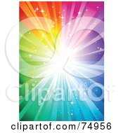 Royalty Free RF Clipart Illustration Of A Magical Sparkly Rainbow Burst Background With Bright Light by Anja Kaiser