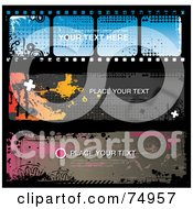 Royalty Free RF Clipart Illustration Of A Digital Collage Of Three Grungy Splatter Website Banners One With A Film Strip Design