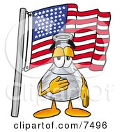 An Erlenmeyer Conical Laboratory Flask Beaker Mascot Cartoon Character Pledging Allegiance To An American Flag by Toons4Biz