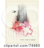 Royalty Free RF Clipart Illustration Of A Grungy Urban Background Of A Helicopter By A Skyscraper With Flowers And A Cross With Sample Text