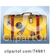 Royalty Free RF Clipart Illustration Of A Yellow Retro Suitcase With Travel Stickers