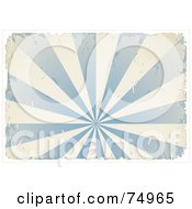Grungy Textured Blue And White Burst With Ripped Edges And White Borders