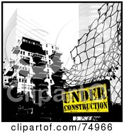 Royalty Free RF Clipart Illustration Of A Grungy Fence With An Under Construction Sign Near City Buildings