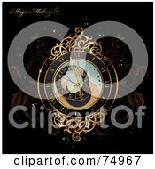 Magical Gold Clock On Brown Vines With Sparkles And Sample Text On Black