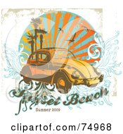 Royalty Free RF Clipart Illustration Of A Grungy Retro Vw Beetle Car With Palm Trees Gulls And Vines With Sample Text by Anja Kaiser