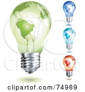Royalty Free RF Clipart Illustration Of A Digital Collage Of Colorful Map Light Bulbs