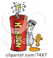 An Erlenmeyer Conical Laboratory Flask Beaker Mascot Cartoon Character Standing With A Lit Stick Of Dynamite by Toons4Biz